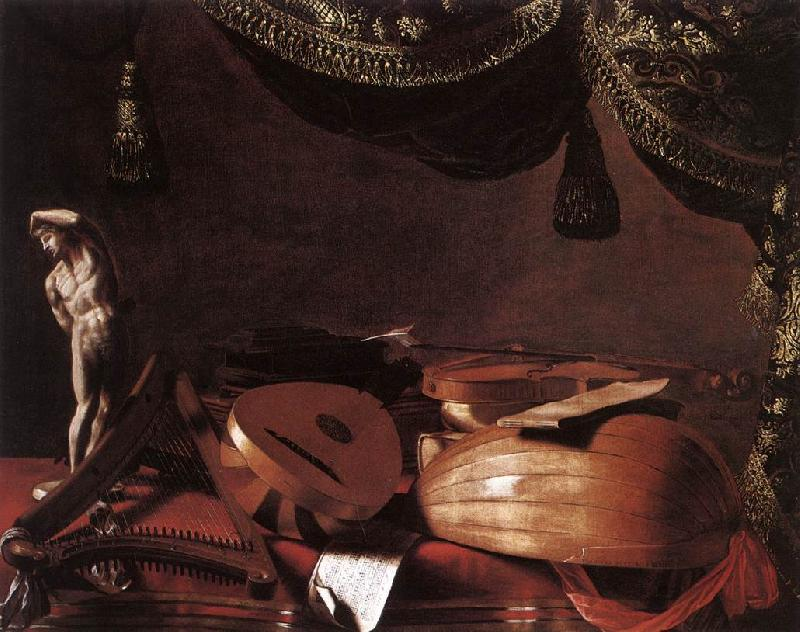 BASCHENIS, Evaristo Still-Life with Musical Instruments and a Small Classical Statue  www Sweden oil painting art