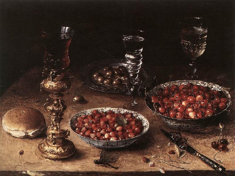 BEERT, Osias Still-Life with Cherries and Strawberries in China Bowls Sweden oil painting art