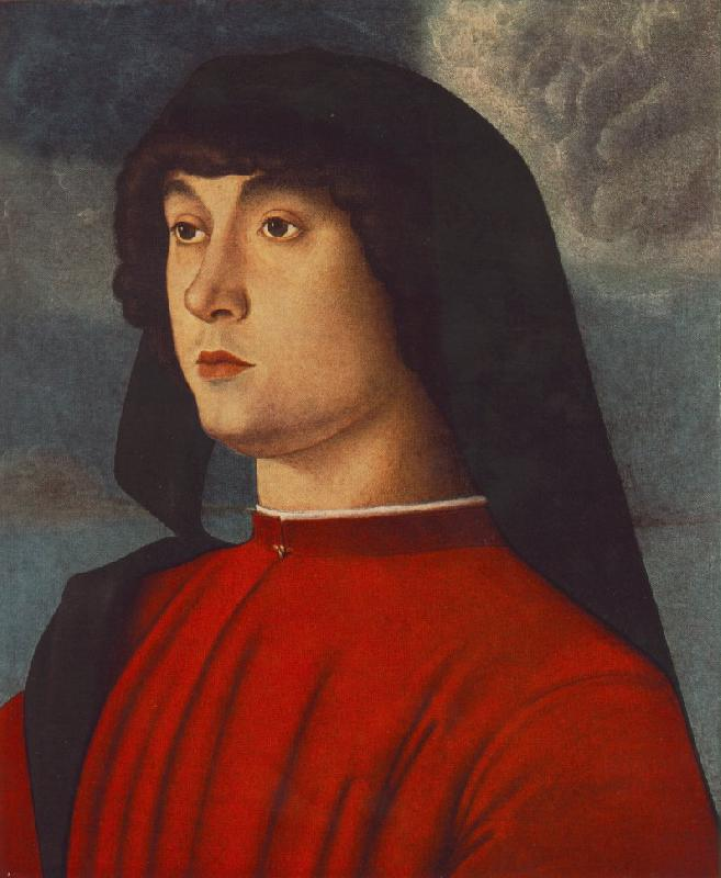 BELLINI, Giovanni Portrait of a Young Man in Red3655 Sweden oil painting art