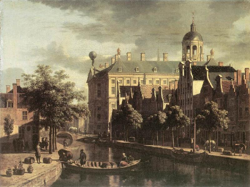 BERCKHEYDE, Gerrit Adriaensz. Amsterdam, the Nieuwezijds near the Bloemmarkt Sweden oil painting art