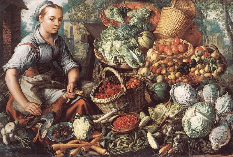 BEUCKELAER, Joachim Market Woman with Fruit, Vegetables and Poultry  intre oil painting image