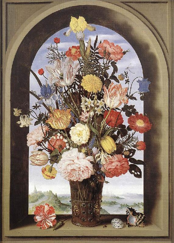 BOSSCHAERT, Ambrosius the Elder Bouquet in an Arched Window  yuyt Sweden oil painting art
