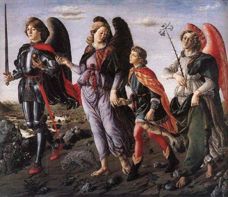 BOTTICINI, Francesco The Three Archangels with Tobias f Sweden oil painting art