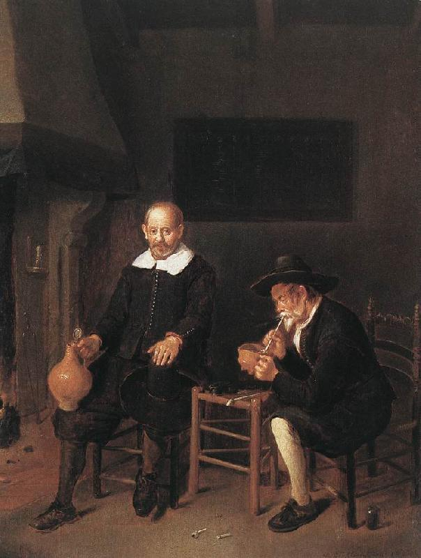 BREKELENKAM, Quiringh van Interior with Two Men by the Fireside f Sweden oil painting art