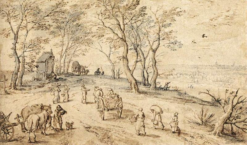 BRUEGHEL, Jan the Elder Villagers on their Way to Market f Sweden oil painting art