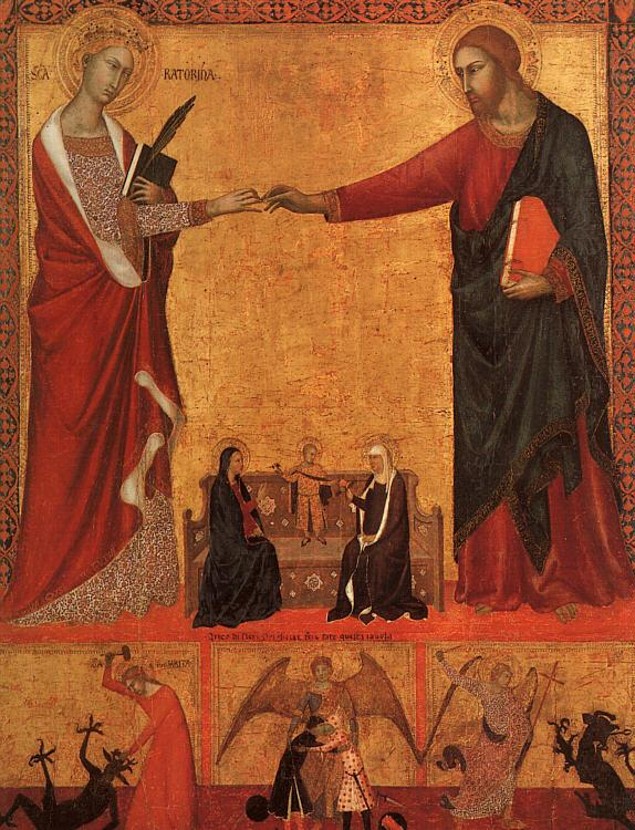 Barna da Siena The Mystical Marriage of St.Catherine Sweden oil painting art