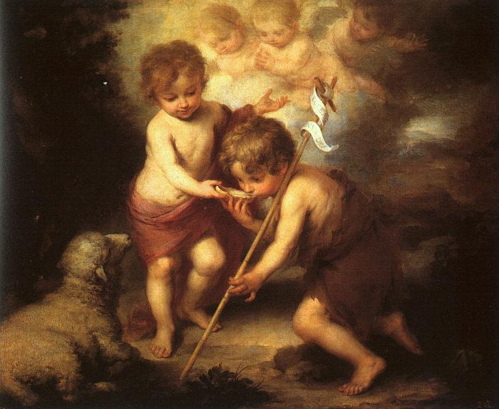 Bartolome Esteban Murillo The Holy Children with a Shell oil painting image