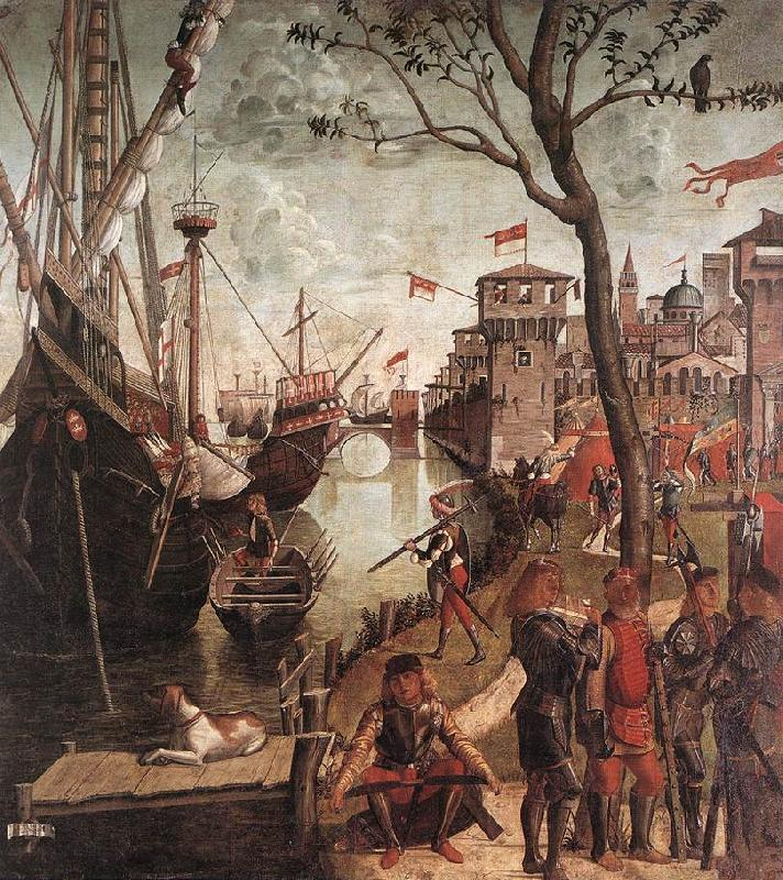 CARPACCIO, Vittore The Arrival of the Pilgrims in Cologne d Sweden oil painting art
