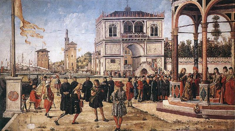 CARPACCIO, Vittore The Ambassadors Return to the English Court fg oil painting image