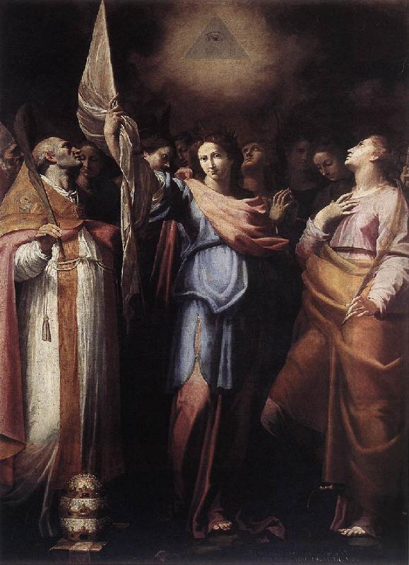 CAVAROZZI, Bartolomeo St Ursula and Her Companions with Pope Ciriacus and St Catherine of Alexandria g Sweden oil painting art
