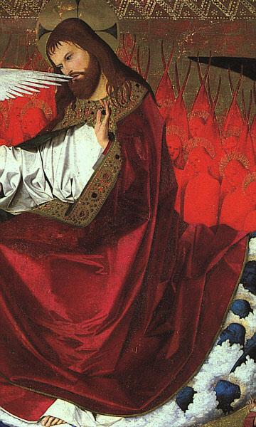 CHARONTON, Enguerrand The Coronation of the Virgin, detail: Jesus hjg Sweden oil painting art