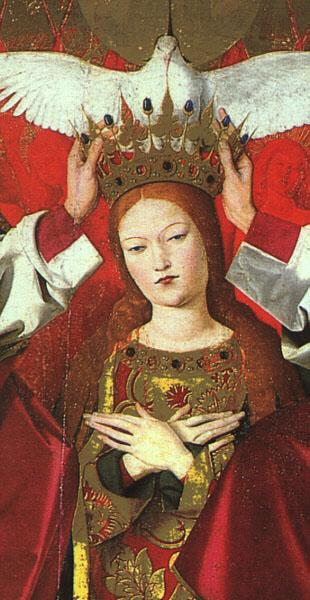 CHARONTON, Enguerrand The Coronation of the Virgin, detail: the Virgin jkh oil painting image