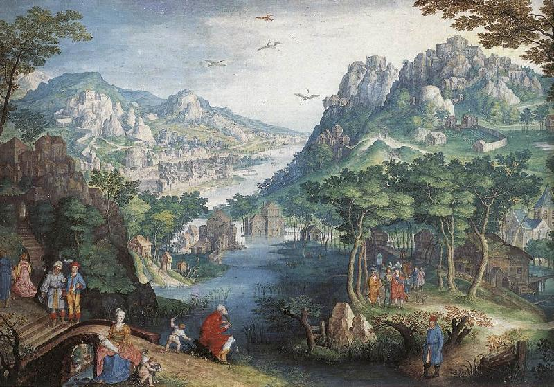 CONINXLOO, Gillis van Mountain Landscape with River Valley and the Prophet Hosea dsg oil painting image