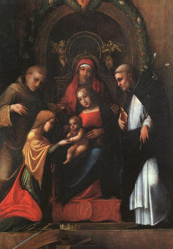 CORNELISZ VAN OOSTSANEN, Jacob The Mystic Marriage of St. Catherine dfg Sweden oil painting art