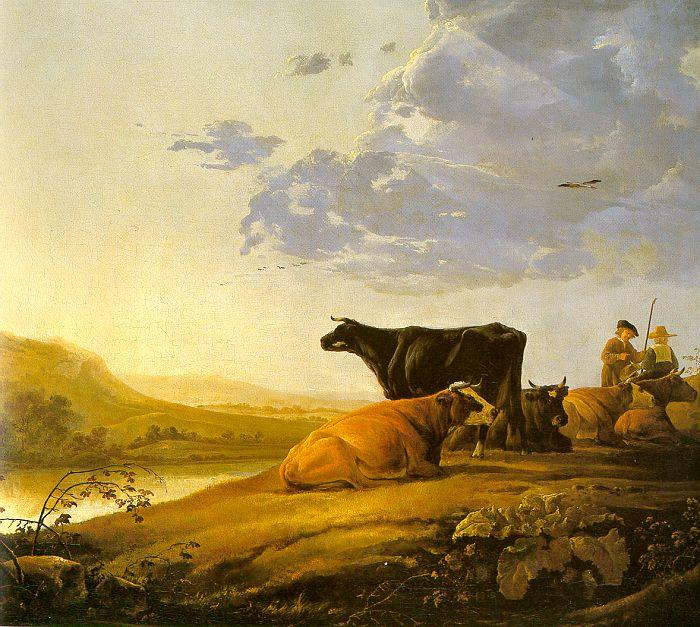 CUYP, Aelbert Young Herdsman with Cows fdg Sweden oil painting art