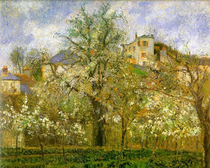 Camille Pissaro Kitchen Garden with Trees in Flower, Pontoise Sweden oil painting art