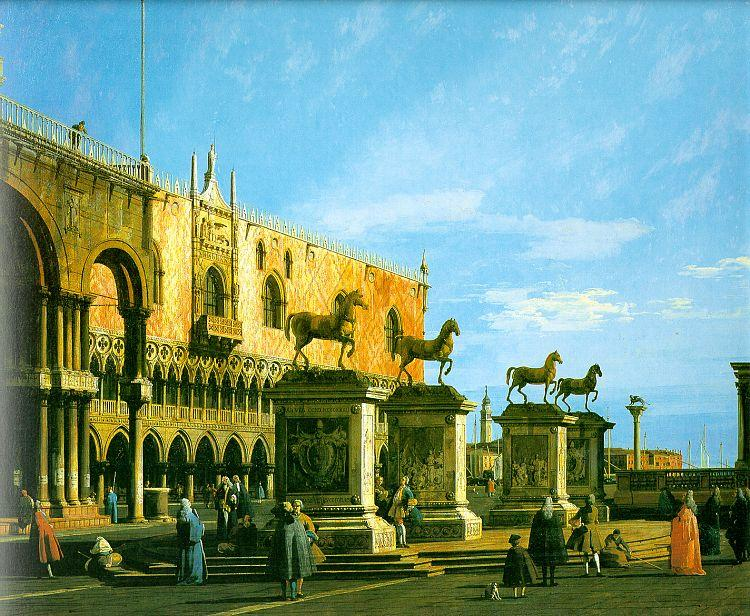 Canaletto Capriccio, The Horses of San Marco in the Piazzetta oil painting image