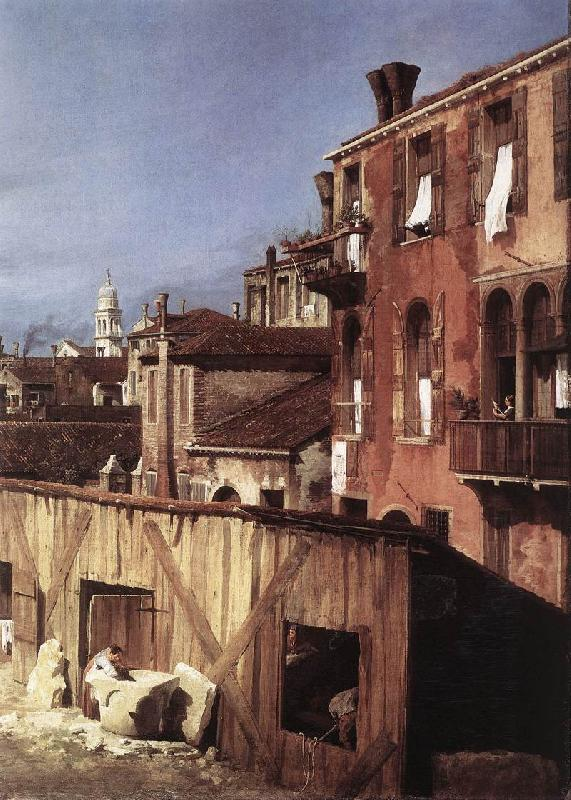 Canaletto The Stonemason s Yard (detail) oil painting image