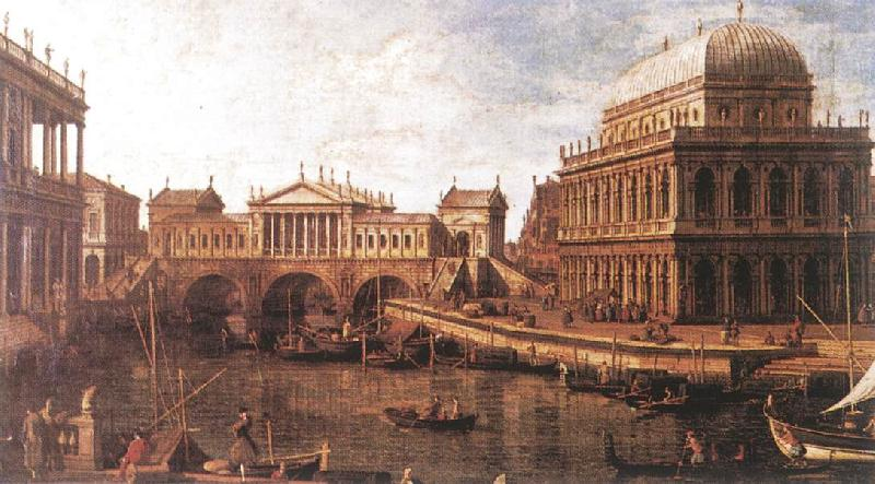 Canaletto Capriccio: a Palladian Design for the Rialto Bridge, with Buildings at Vicenza Sweden oil painting art