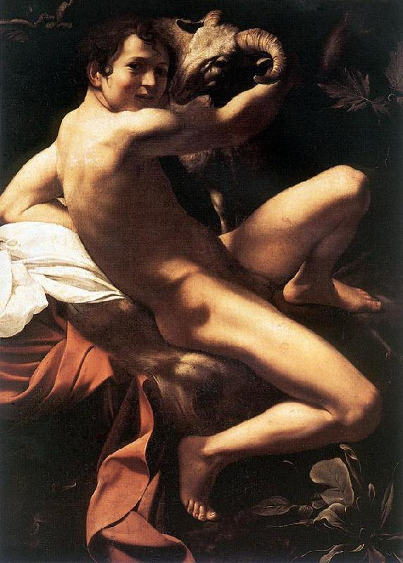 Caravaggio St. John the Baptist (Youth with Ram)  fdy Sweden oil painting art