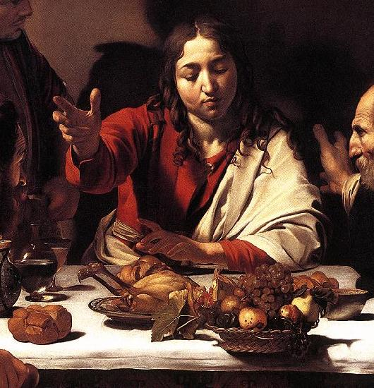 Caravaggio Supper at Emmaus (detail) fg Sweden oil painting art