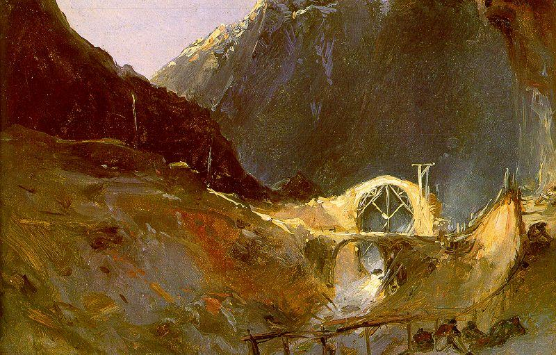 Charles Blechen The Building of Devil's Bridge oil painting image