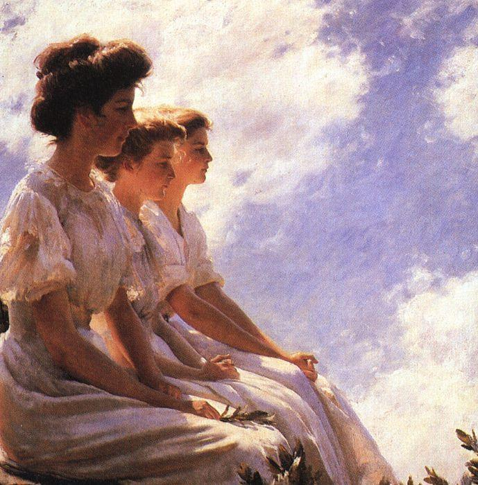 Charles Courtney Curran On the Heights Sweden oil painting art