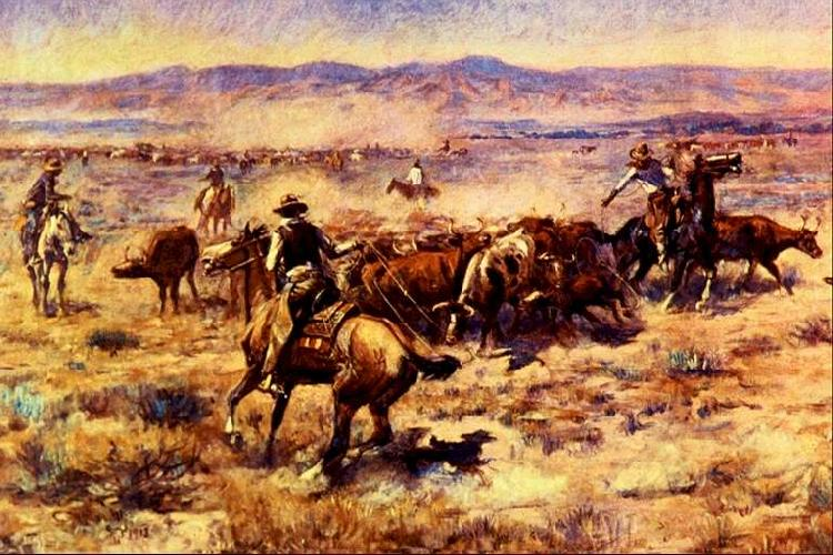 Charles M Russell The Round Up oil painting image