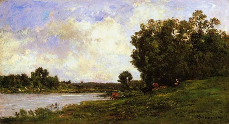 Charles-Francois Daubigny Cattle on the Bank of a River oil painting image
