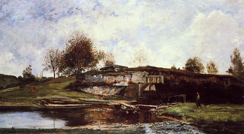 Charles-Francois Daubigny Sluice in the Optevoz Valley oil painting image