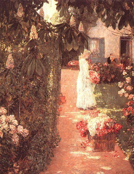Childe Hassam Gathering Flowers in a French Garden oil painting image