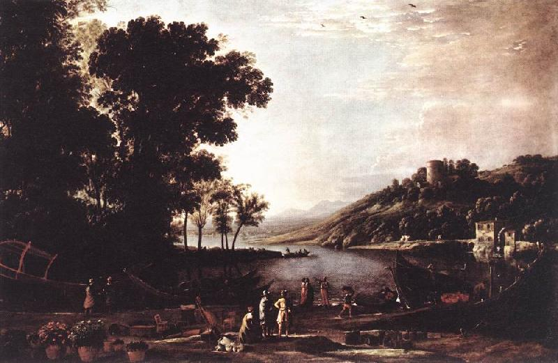 Claude Lorrain Landscape with Merchants sdfg Sweden oil painting art