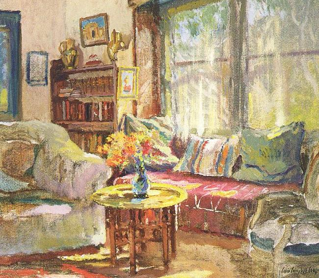 Colin Campbell Cooper Cottage Interior Sweden oil painting art