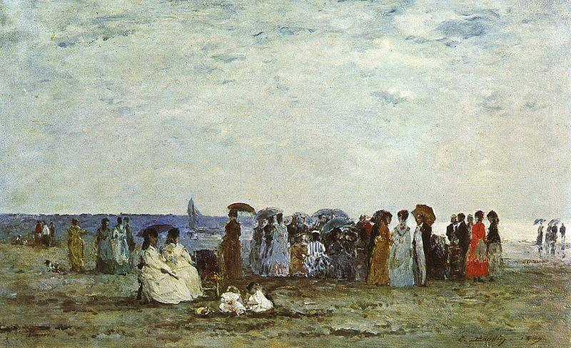 Eugene Boudin Bathers on the Beach at Trouville oil painting image