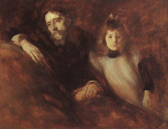 Eugene Carriere Alphonse Daudet and his Daughter oil painting image