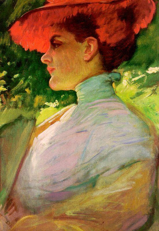 Frank Duveneck Lady With a Red Hat Sweden oil painting art