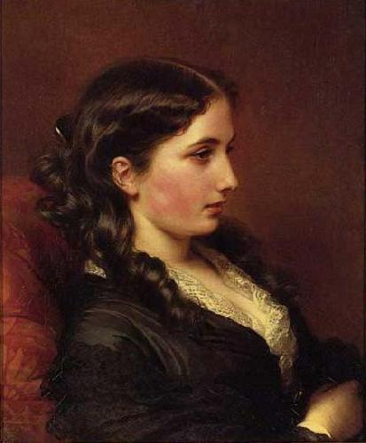 Franz Xaver Winterhalter Study of a Girl in Profile oil painting image