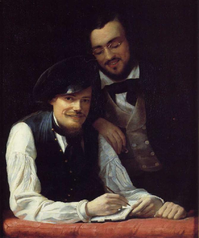 Franz Xaver Winterhalter Self Portrait of the Artist with his Brother, Hermann oil painting image