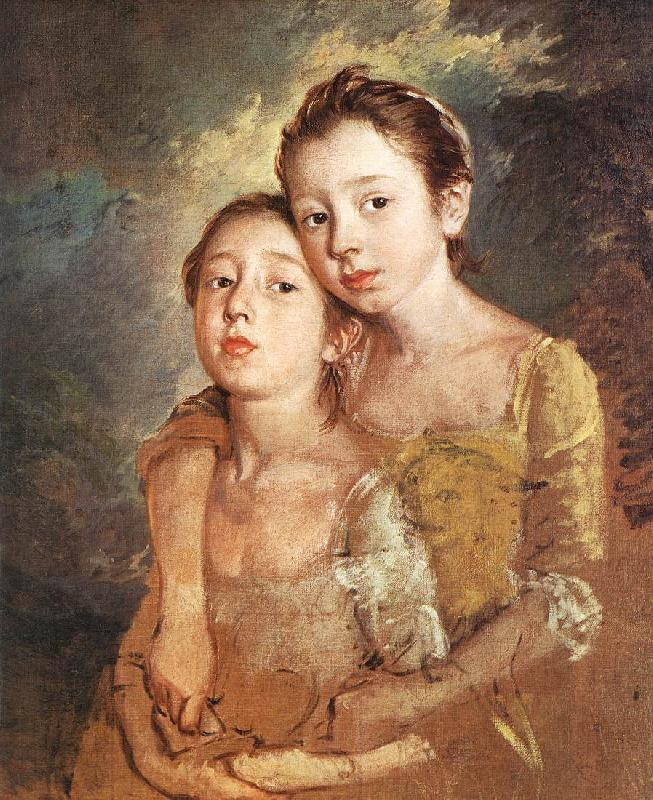 GAINSBOROUGH, Thomas The Artist s Daughters with a Cat oil painting image
