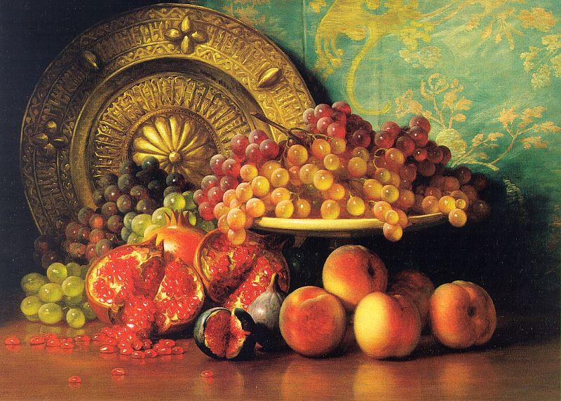 George Henry Hall Figs, Pomegranates, Grapes and Brass Plate Sweden oil painting art