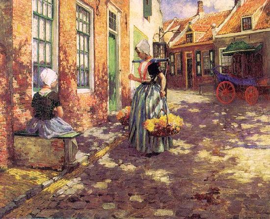 George Hitchcock Dutch Flower Girls Sweden oil painting art