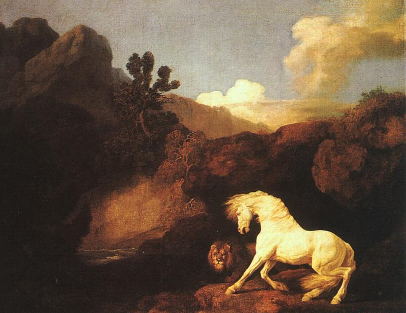 George Stubbs A Horse Frightened by a Lion Sweden oil painting art