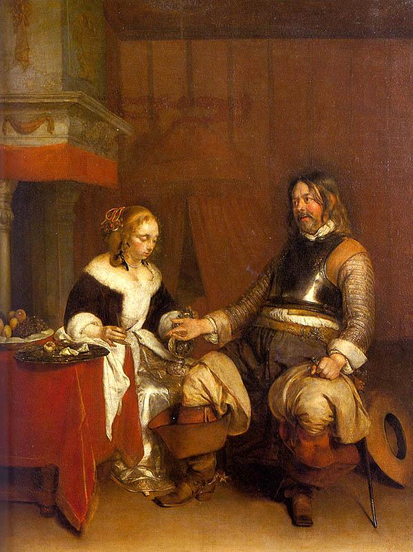 Gerard Ter Borch Soldier Offering a Young Woman Coins oil painting image