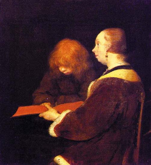 Gerard Ter Borch The Reading Lesson oil painting image