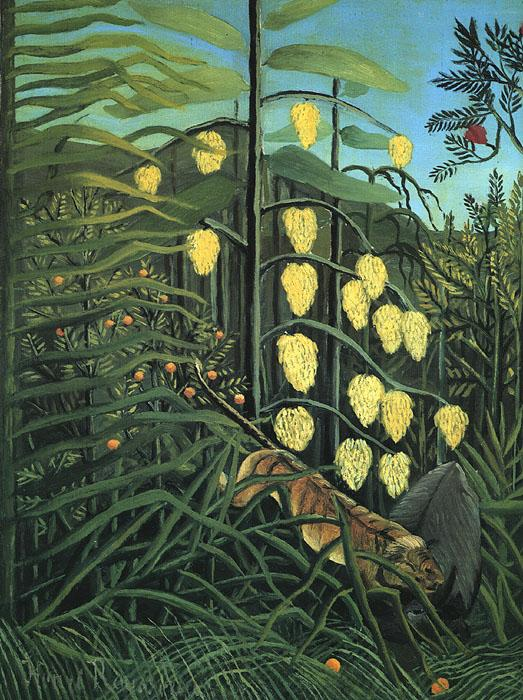 Henri Rousseau In a Tropical Forest: Fight Between a Tiger and a Bull Sweden oil painting art