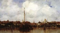 Jacob Maris Dutch Town on the Edge of the Sea oil painting image