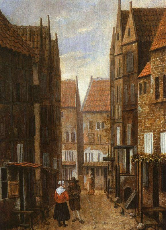 Jacobus Vrel Street Scene with Couple in Conversation Sweden oil painting art