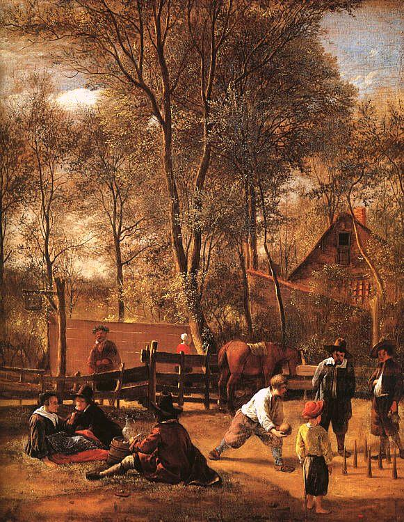 Jan Steen Skittle Players Outside an Inn Sweden oil painting art