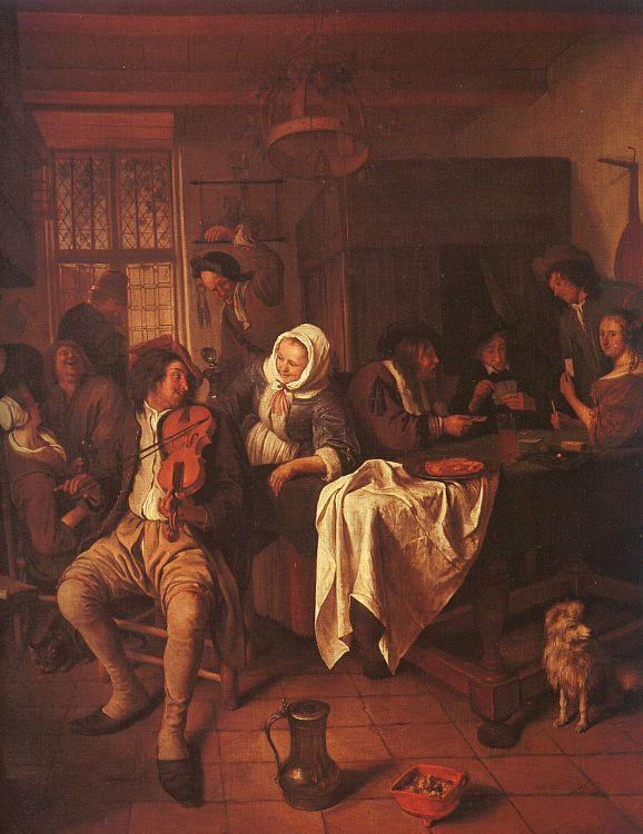 Jan Steen Inn with Violinist Card Players Sweden oil painting art