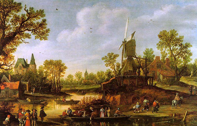 Jan van  Goyen River Landscape oil painting image